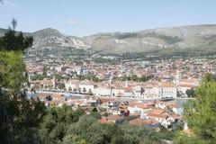 Luchtmening over de stad van Trogir in Kroatië Royalty-vrije Stock Foto