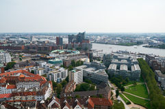 Luchtmening over Hamburg Stock Foto's