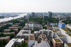 Luchtmening over Hamburg Royalty-vrije Stock Afbeeldingen