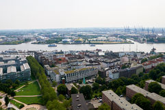 Luchtmening over Hamburg duitsland Stock Afbeelding