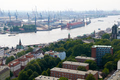 Luchtmening over Hamburg duitsland Stock Foto