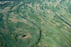 Luchtmening over het Deltamoerasland van Donau, Roemenië Stock Foto