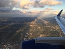 Luchtmening over het vliegtuig stock fotografie
