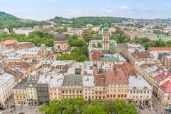 Luchtmening over Lviv, de Oekraïne Stock Fotografie