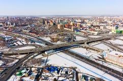 Luchtmening over M De brug van de Torezstraat Tyumen Royalty-vrije Stock Fotografie