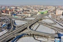 Luchtmening over M De brug van de Torezstraat Tyumen Stock Afbeelding