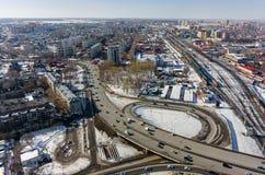 Luchtmening over M De brug van de Torezstraat Tyumen Stock Foto