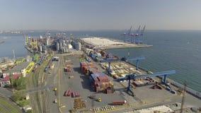 Luchtmening over Odessa Sea Trade Port ukraine stock videobeelden