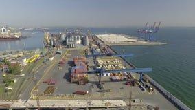 Luchtmening over Odessa Sea Trade Port ukraine stock footage