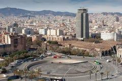 Luchtmening over Stad van Barcelona met rotonde stock foto