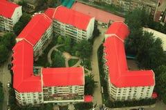 Luchtmening over twee binnenplaatsen in Peking Royalty-vrije Stock Fotografie