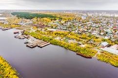 Luchtmening over Tyumen-Reparatiewerf Tyumen Rusland Stock Afbeeldingen