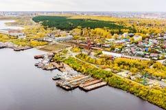 Luchtmening over Tyumen-Reparatiewerf Tyumen Rusland Stock Afbeelding