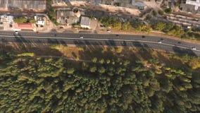 Luchtmening over weg in stad stock videobeelden