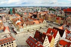 Luchtmening over Wroclaw stock afbeeldingen
