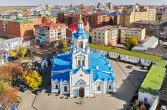 Luchtmening over Znamensky-Kathedraal Tyumen Rusland Royalty-vrije Stock Afbeelding