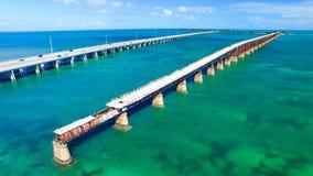 Luchtmening van Bahia Honda State Park Bridges, Florida - de V.S. stock foto's