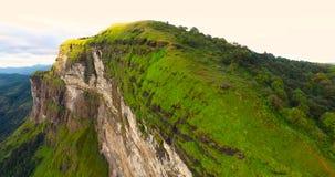 Luchtmening van berg en bosheuvel stock footage