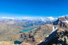 Luchtmening van Bianco-meer van Diavolezza Royalty-vrije Stock Afbeeldingen