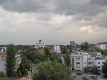 Luchtmening van Boekarest, Roemenië stock foto's