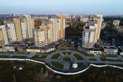 Luchtmening van boulevard in ` Borodino ` Mooie landschapsmening van vogelsgezicht stock afbeeldingen