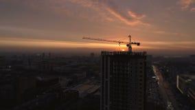 Luchtmening van bouwwerf op de dag stock videobeelden