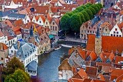 Luchtmening van Brugge van Klokketoren, België 2 Royalty-vrije Stock Afbeelding