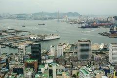 Luchtmening van Busan, Zuid-Korea stock fotografie