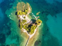 Luchtmening van Cameo Island in het eiland van Zakynthos Zante, in Gree Stock Afbeelding