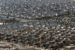 Luchtmening van Chinese woonwijk stock afbeelding