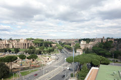 Luchtmening van Circusmaximus en Palatine in Rome Stock Fotografie