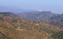 Luchtmening van Comares, wit dorp van de bergen van Malaga, Spanje Stock Fotografie