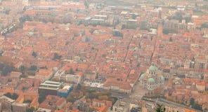 Luchtmening van Como in Italië op een dalingsdag stock afbeelding