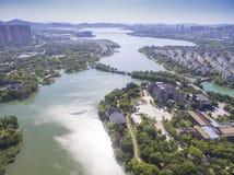 Luchtmening van de bouw van de stadswaterkant Royalty-vrije Stock Afbeeldingen