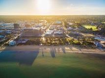 Luchtmening van de bouw van het Zuidoostenwater in Frankston, Australië stock afbeelding