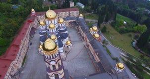 Luchtmening van de Christelijke gezichten in Nieuwe Athos stock video