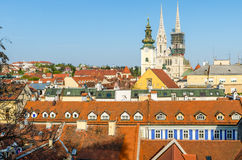 Luchtmening van de daken van Zagreb Royalty-vrije Stock Afbeeldingen