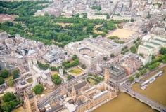 Luchtmening van de gebouwen van Londen, het UK Stock Afbeelding