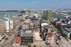 Luchtmening van de havengebied van Antwerpen van het museummas van het dakterras, België Stock Foto