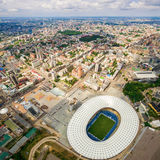 Luchtmening van de het Olympische Stadion en stad van Kiev ukraine Stock Afbeeldingen