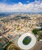 Luchtmening van de het Olympische Stadion en stad van Kiev ukraine Royalty-vrije Stock Foto's