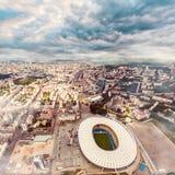 Luchtmening van de het Olympische Stadion en stad van Kiev ukraine Royalty-vrije Stock Afbeeldingen