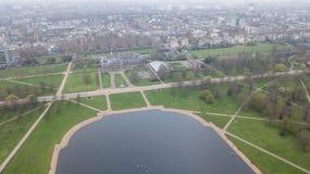 Luchtmening van de hommel hoogste mening van Londen Hyde Park het UK het Verenigd Koninkrijk royalty-vrije stock afbeeldingen