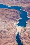 Luchtmening van de Hoover-Dam en Grand Canyon Stock Foto