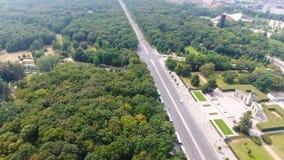 Luchtmening van de horizon van Berlijn vanaf 17 Juni weg, Duitsland Stock Fotografie
