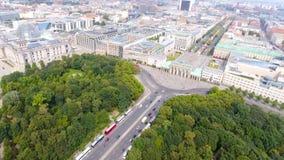 Luchtmening van de horizon van Berlijn vanaf 17 Juni weg, Duitsland Stock Afbeelding