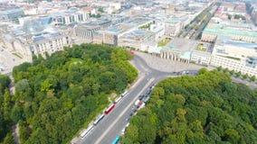Luchtmening van de horizon van Berlijn vanaf 17 Juni weg, Duitsland Royalty-vrije Stock Foto