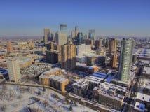 Luchtmening van de Horizon van Minneapolis tijdens de winter royalty-vrije stock afbeeldingen