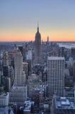Luchtmening van de horizon van Manhattan en de Stadshorizon van New York Royalty-vrije Stock Afbeelding