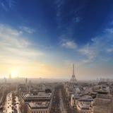 Luchtmening van de horizon van Parijs en de toren van Eiffel, Frankrijk Stock Foto's